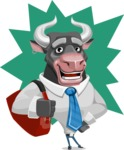 Bull Cartoon Character Dressed with Business Clothes AKA Will Horns - Shape 8