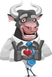 Bull Cartoon Character Dressed with Business Clothes AKA Will Horns - Show Love