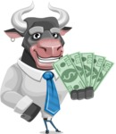 Bull Cartoon Character Dressed with Business Clothes AKA Will Horns - Show me the Money