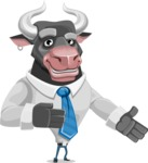Bull Cartoon Character Dressed with Business Clothes AKA Will Horns - Show