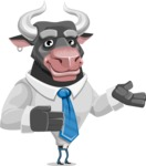 Bull Cartoon Character Dressed with Business Clothes AKA Will Horns - Showcase