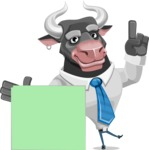 Bull Cartoon Character Dressed with Business Clothes AKA Will Horns - Sign 7