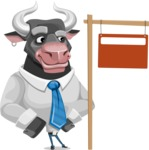 Bull Cartoon Character Dressed with Business Clothes AKA Will Horns - Sign 9