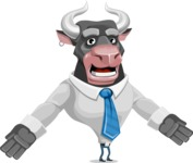 Bull Cartoon Character Dressed with Business Clothes AKA Will Horns - Stunned