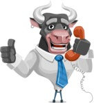 Bull Cartoon Character Dressed with Business Clothes AKA Will Horns - Support