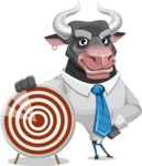 Bull Cartoon Character Dressed with Business Clothes AKA Will Horns - Target