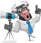 Bull Cartoon Character Dressed with Business Clothes AKA Will Horns - Telescope
