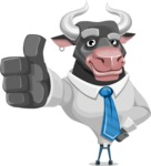 Bull Cartoon Character Dressed with Business Clothes AKA Will Horns - Thumbs Up