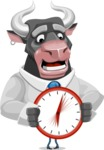 Bull Cartoon Character Dressed with Business Clothes AKA Will Horns - Time is Yours