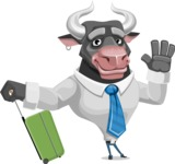 Bull Cartoon Character Dressed with Business Clothes AKA Will Horns - Travel 1