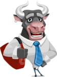 Bull Cartoon Character Dressed with Business Clothes AKA Will Horns - Travel 2