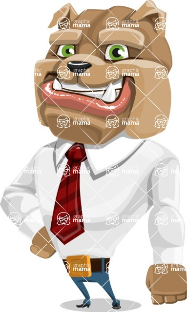 Bulldog Businessman Cartoon Vector Character AKA Bruce Bulldogge - Normal