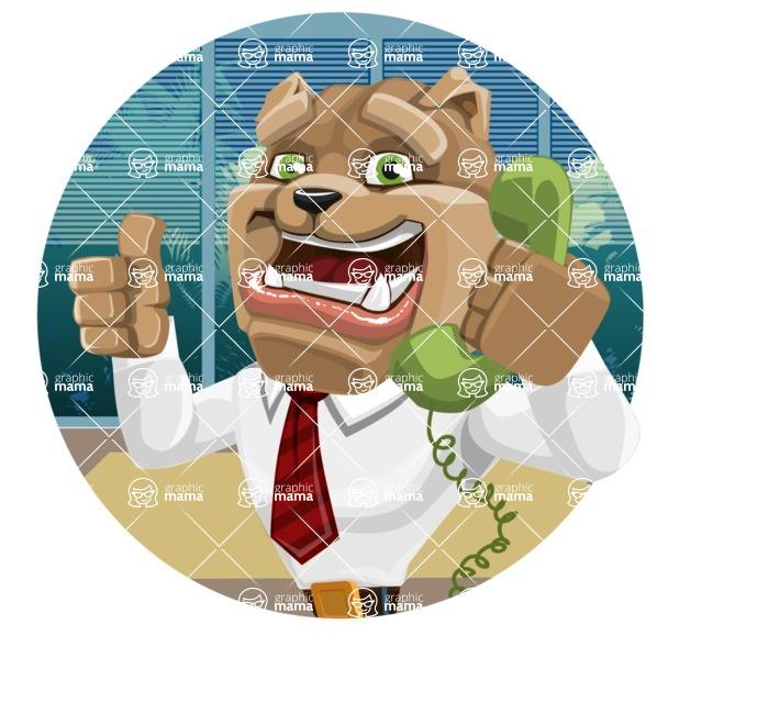 Bulldog Businessman Cartoon Vector Character AKA Bruce Bulldogge - Shape 2