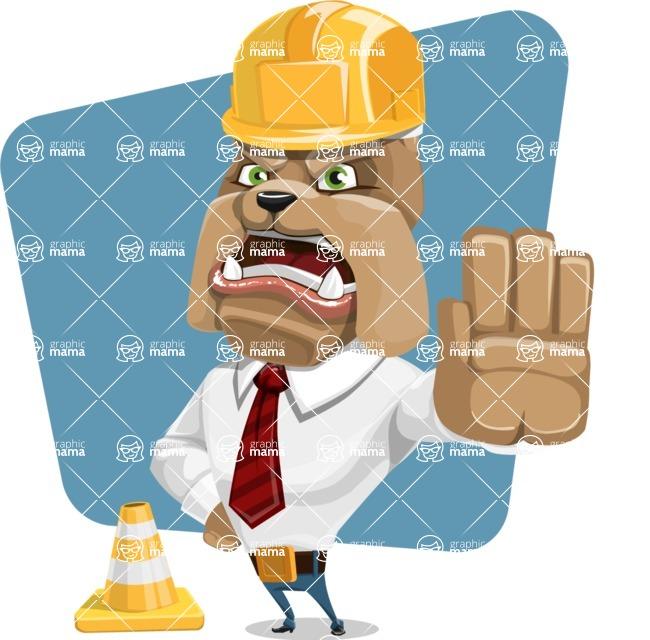 Bulldog Businessman Cartoon Vector Character AKA Bruce Bulldogge - Shape 6