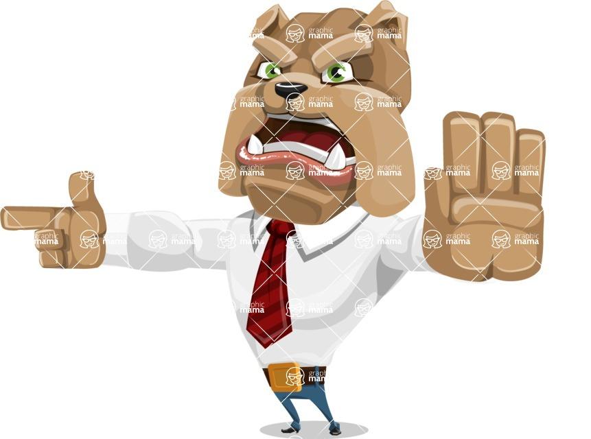 Bulldog Businessman Cartoon Vector Character AKA Bruce Bulldogge - Direct Attention