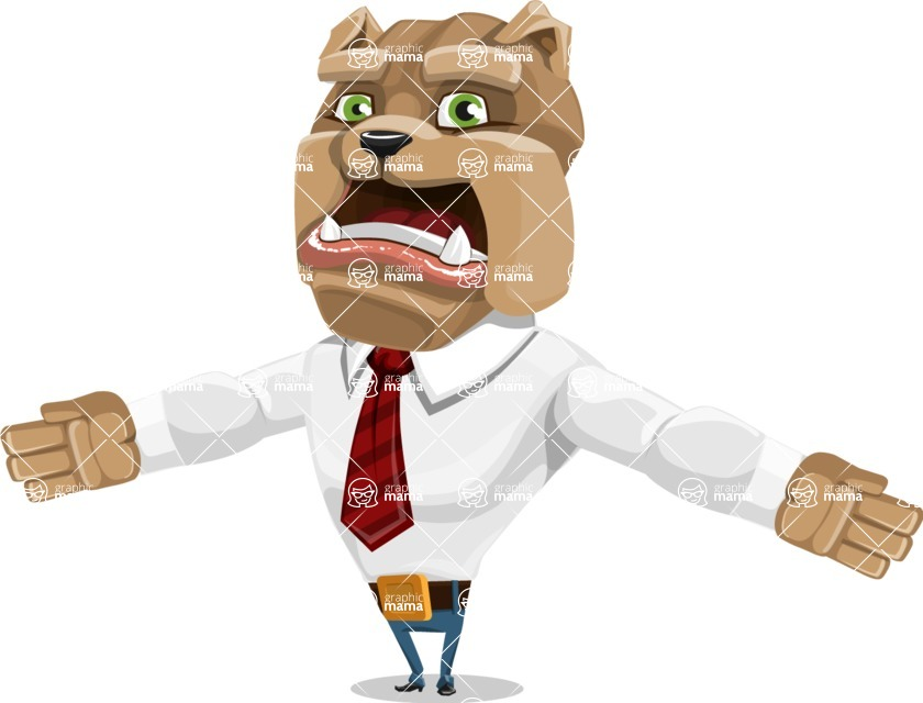 Bulldog Businessman Cartoon Vector Character AKA Bruce Bulldogge - Stunned