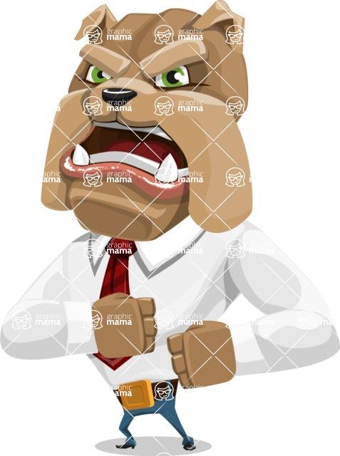 Bulldog Businessman Cartoon Vector Character AKA Bruce Bulldogge - Angry