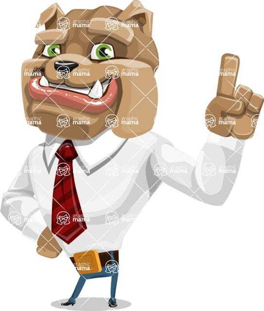 Bulldog Businessman Cartoon Vector Character AKA Bruce Bulldogge - Attention