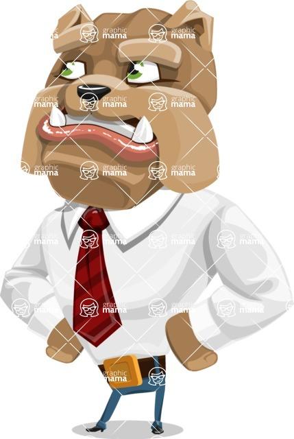 Bulldog Businessman Cartoon Vector Character AKA Bruce Bulldogge - Roll Eyes