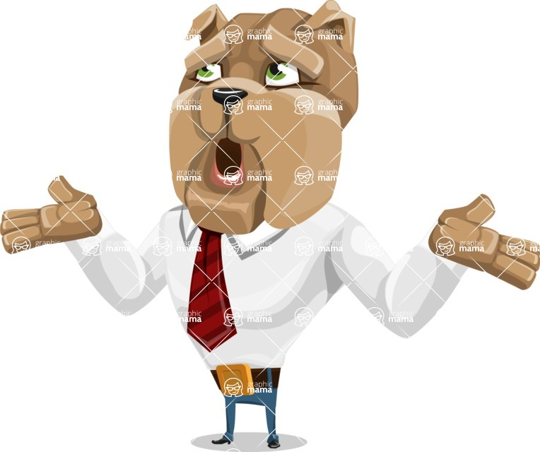 Bulldog Businessman Cartoon Vector Character AKA Bruce Bulldogge - Lost