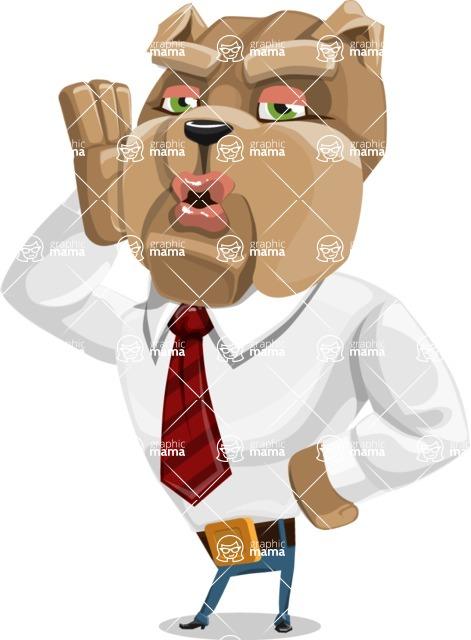 Bulldog Businessman Cartoon Vector Character AKA Bruce Bulldogge - Duckface