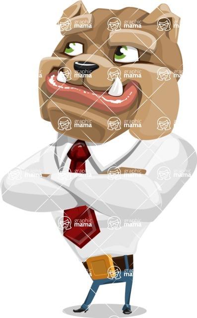Bulldog Businessman Cartoon Vector Character AKA Bruce Bulldogge - Petient