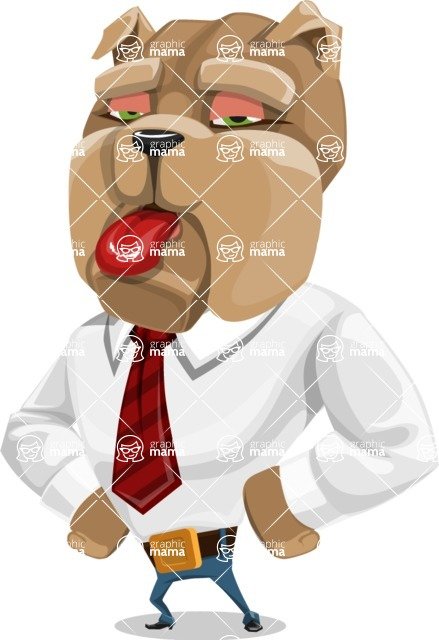 Bulldog Businessman Cartoon Vector Character AKA Bruce Bulldogge - Making Face