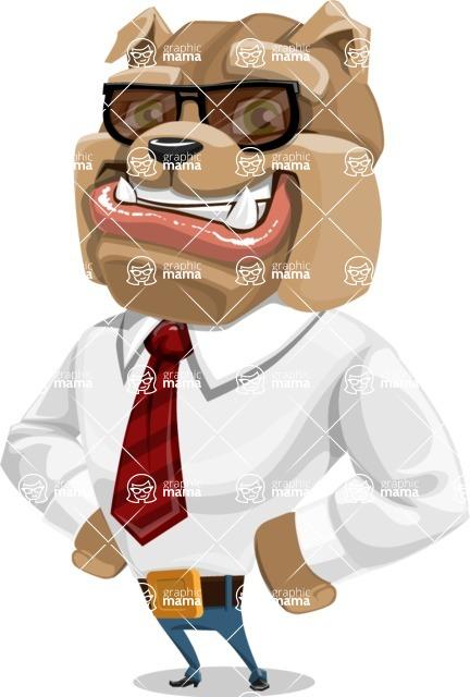 Bulldog Businessman Cartoon Vector Character AKA Bruce Bulldogge - Sunglasses