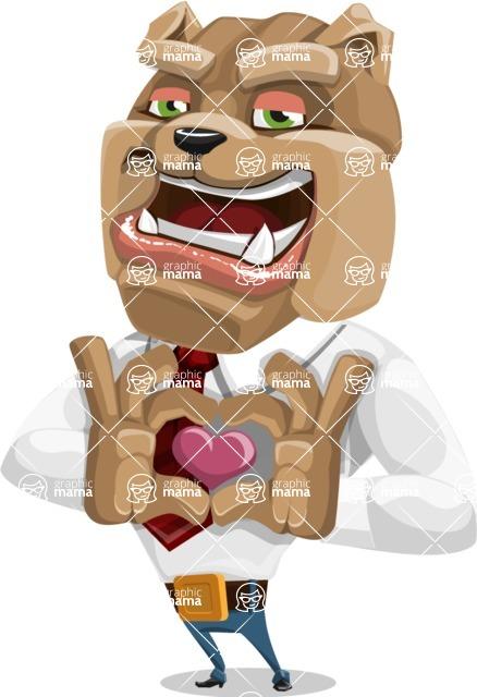 Bulldog Businessman Cartoon Vector Character AKA Bruce Bulldogge - Show Love