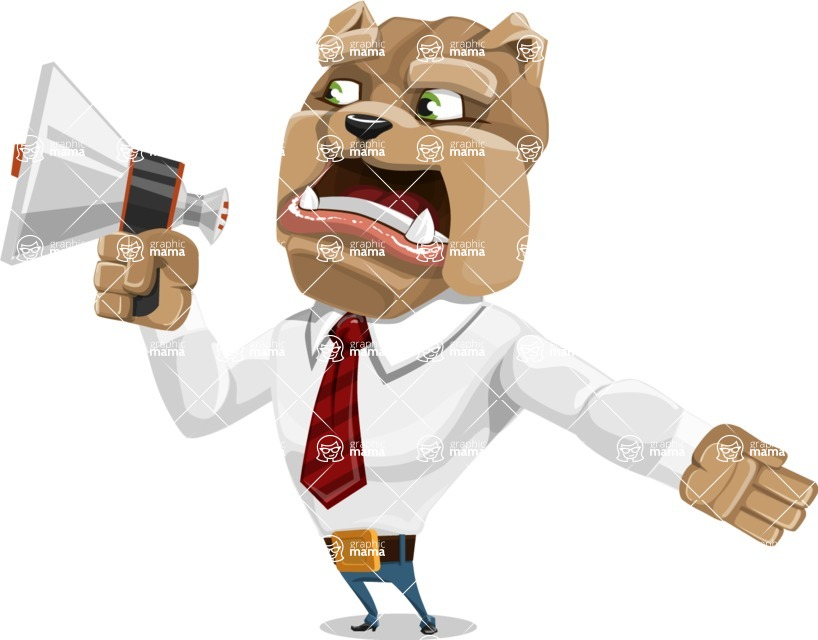 Bulldog Businessman Cartoon Vector Character AKA Bruce Bulldogge - Loudspeaker