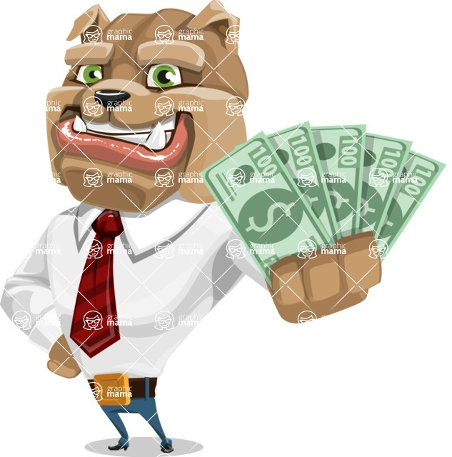 Bulldog Businessman Cartoon Vector Character AKA Bruce Bulldogge - Show me the Money