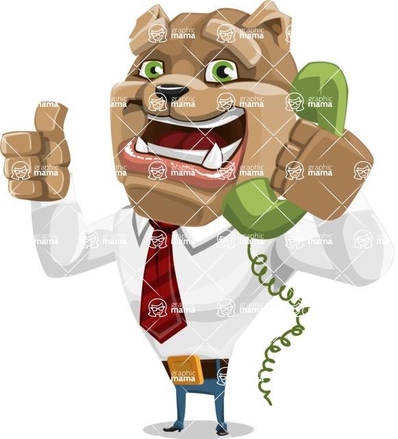Bulldog Businessman Cartoon Vector Character AKA Bruce Bulldogge - Support