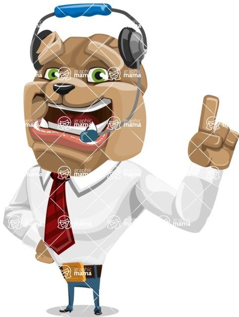 Bulldog Businessman Cartoon Vector Character AKA Bruce Bulldogge - Support 2