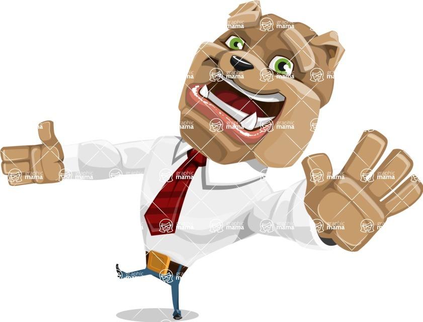Bulldog Businessman Cartoon Vector Character AKA Bruce Bulldogge - Wave