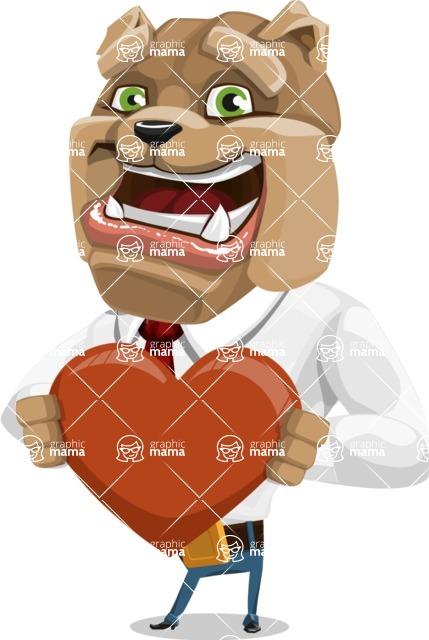 Bulldog Businessman Cartoon Vector Character AKA Bruce Bulldogge - Love