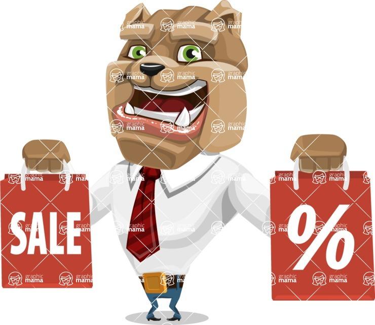 Bulldog Businessman Cartoon Vector Character AKA Bruce Bulldogge - Sale 2