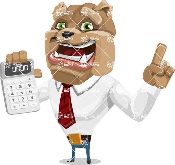 Bulldog Businessman Cartoon Vector Character AKA Bruce Bulldogge - Calculator