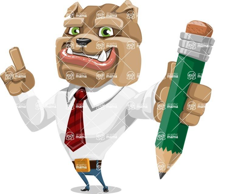 Bulldog Businessman Cartoon Vector Character AKA Bruce Bulldogge - Pencil