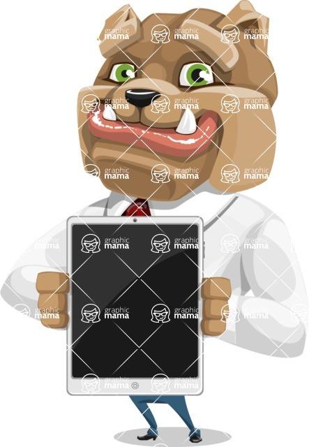 Bulldog Businessman Cartoon Vector Character AKA Bruce Bulldogge - iPad 1