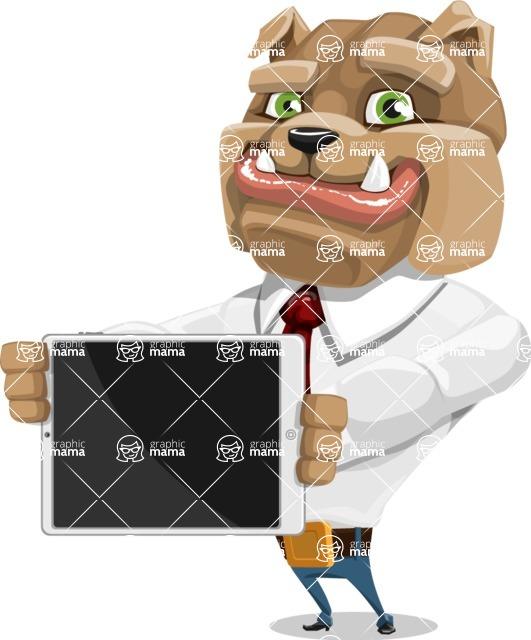 Bulldog Businessman Cartoon Vector Character AKA Bruce Bulldogge - iPad 2
