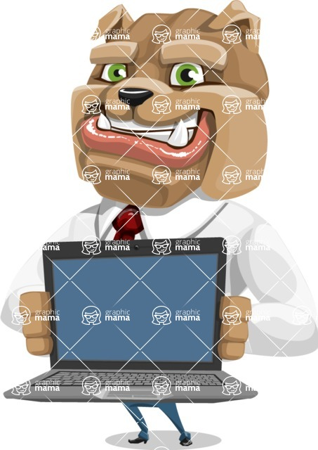 Bulldog Businessman Cartoon Vector Character AKA Bruce Bulldogge - Laptop 2