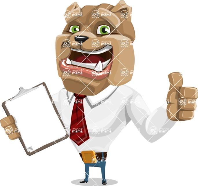 Bulldog Businessman Cartoon Vector Character AKA Bruce Bulldogge - Notepad 1