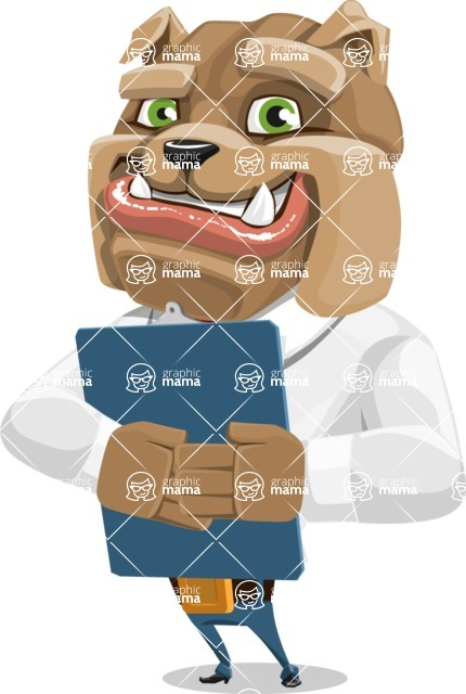 Bulldog Businessman Cartoon Vector Character AKA Bruce Bulldogge - Notepad 2