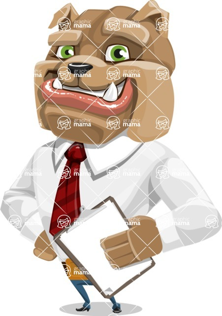 Bulldog Businessman Cartoon Vector Character AKA Bruce Bulldogge - Notepad 4