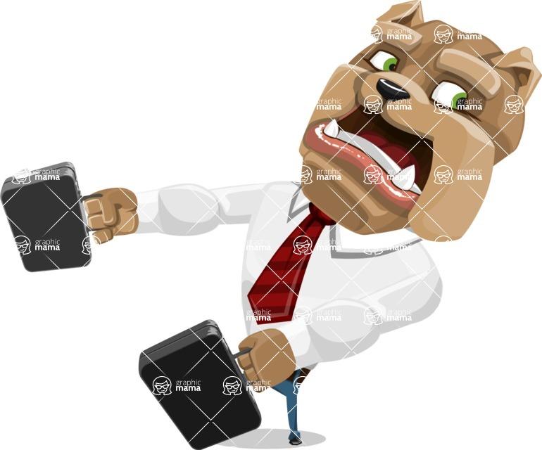 Bulldog Businessman Cartoon Vector Character AKA Bruce Bulldogge - Briefcase 3