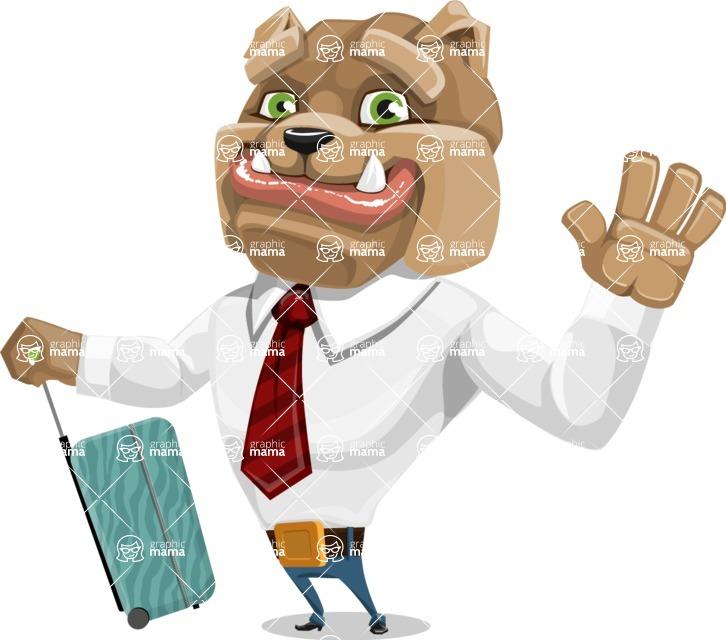 Bulldog Businessman Cartoon Vector Character AKA Bruce Bulldogge - Travel 1