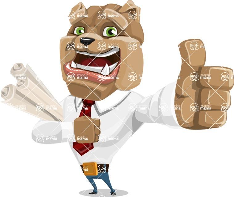 Bulldog Businessman Cartoon Vector Character AKA Bruce Bulldogge - Plans