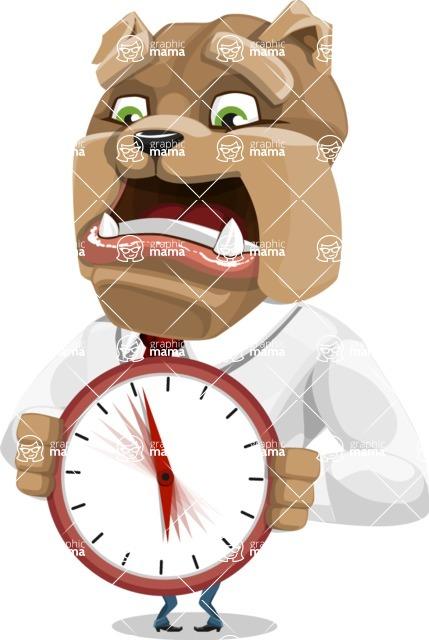 Bulldog Businessman Cartoon Vector Character AKA Bruce Bulldogge - Time is Yours