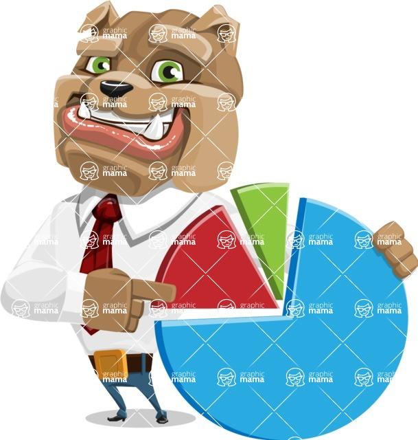 Bulldog Businessman Cartoon Vector Character AKA Bruce Bulldogge - Chart