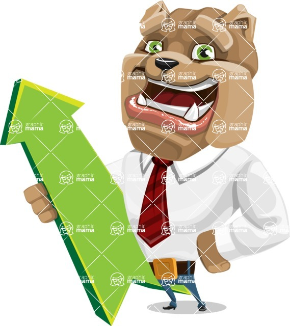 Bulldog Businessman Cartoon Vector Character AKA Bruce Bulldogge - Pointer 1